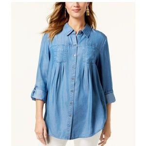 STYLE & CO Pleated Roll-Tab-Sleeve Shirt